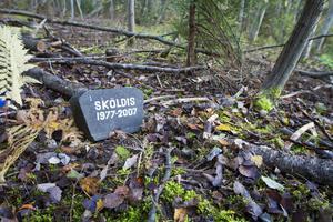 Sköldis är ett av de djur som fått ett minnesmärke på platsen.