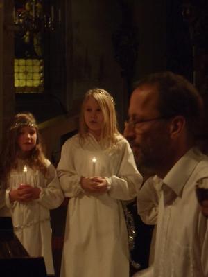 Kulturskolans Luciakonsert i torsdags. Emilia är tärna och sjunger med vox-1:ornaLäsarbild: Lisa Stolt