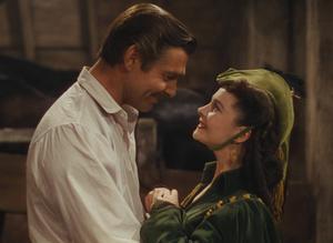 Clark Gable, som Rhett Butler, och Vivien Leigh som Scarlett O'Hara i en scen från filmen Borta med vinden. Fantastiska skådespelare med total närvaro, filmen igenom.