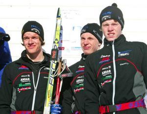 Offerdals SK:s bronslag från stafetten: Oskar Kardin,  Håkan Emilsson och Jimmy Emilsson.