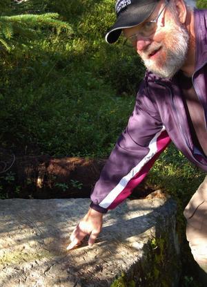 Janne Nilsson visar upp en av de många ristningar på stenar som finns i trakterna av Skinnarbodarna. Foto:Björn Rehnström