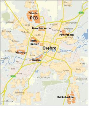 I första hand är det de områden som är orangefärgade som ska undersökas.