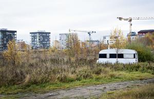 En skylt på stängslet hade gett polisen mandat att hindra att EU-migranterna åter flyttade till Alderholmen.