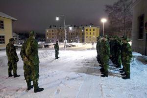 Uppställning på Dalregementets kaserngård där tidigare I13/Fo 53 utbildade värnpliktiga fram till kalla krigets slut.