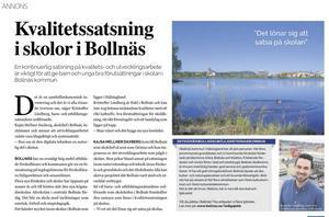 För att locka rektorer och annan skolpersonal från andra delar av landet har Bollnäs kommun bland annat spenderat 73 750 kronor på en annonsartikel i Dagens Nyheters skolbilaga.