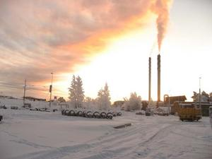 Fjärrvärmeverket Minnesgärde en kall vintermorgon. Foto: Carl Henrik Jonasson