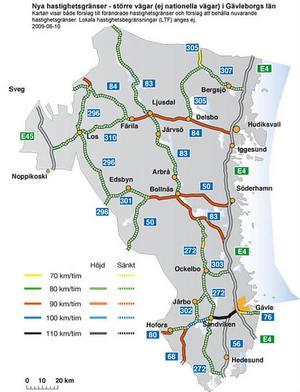 I södra Hälsingland är det bara sträckan Alfta–Söderhamn på riksväg 50 och sträckan Bollnäs–Noran/E4 som blir 90-sträckor i fortsättningen – om Vägverkets förslag genomförs.KARTA: VÄGVERKET
