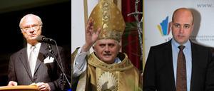 INTRESSERAD. Kungen var informerad om Ferdinand Boberg, Gasklockorna och beslutet att satsa 100 miljoner i Stockholm. Påven önskar kondomförbud i Afrika och Fredrik Reinfeldt tänker inte frysa sin lön