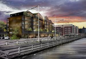 Så här är Markus Näslunds bygge i inre hamnen i Örnsköldsvik tänkt att se ut.