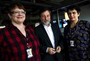 Siv Holma (V), Leif Pagrotsky (S) och Esabelle Dingizian (MP) utgör oppositionens nya arbetsgrupp inom kulturpolitiken. Foto: SCANPIX
