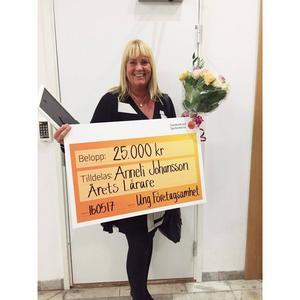 Anneli Johansson från Sundsvalls gymnasium tog hem det prestigefyllda priset Årets lärare på SM i Ung Företagsamhet.