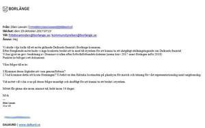 Skärmdump från en kopia av vice VD:n Zilan Lawans mail till Borlänge kommun.
