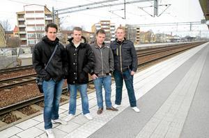 Del av demokratin. Lucas Andersson, Daniel Stark, Viktor Moberg och Mathias Dalberg.