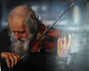 Violinist målad av Vida Shahideh.