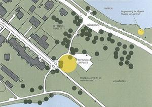 Gula markeringar för lekplatsen och en flytt av fågeldammen till Långnäsvägen. De senare förslaget finns med för att förbättra Vågens vattenkvalitet.