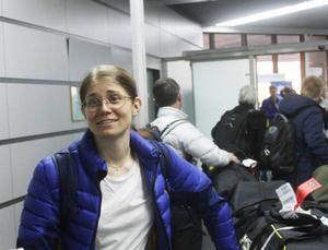 Ida Ingemarsdotter anklände samtidigt med oss. Hon kom från Italien. Vi kom från Norge. Foto: Thord Erik Nilsson