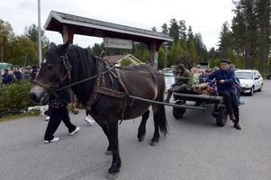 Anders Isaksson körde hästskjuts, något som lockade många att pröva det klassiska sättet at transportera sig.