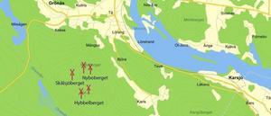 Här syns placeringen för de fem kraftverk som Eolus vill bygga.