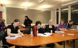 Det studeras flitigt i Vuxenutbildningens lokaler under kvällarna. Seth Jansson