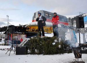 Tomas Sandman från Tegefjäll Linbane AB och Skistar Åres destinationschef Niclas Sjögren Berg höll invigningstal.
