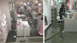 Så här såg det enligt två av NA:s läsare ut på Åhléns i Vågengallerian under tisdagskvällen. På onsdagen fortsatte arbetet efter den omfattande vattenläckan som drabbade butiken.