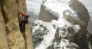 David Lima bestiger Trango Tower i Pakistan, i juli i år.
