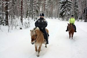 Oplogad skogsväg är inget bekymmer för den som har tillgång till äkta hästkrafter. Främst rider Elisabet Johansson på Milos och bakom hennes lillasyster Karin på New forestponnyn Delia.