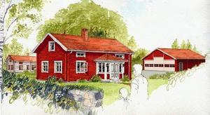 Förslag. Den här skissen visar hur bebyggelsen vid Himmelslätta kan komma att se ut med en hangar av uthustyp.