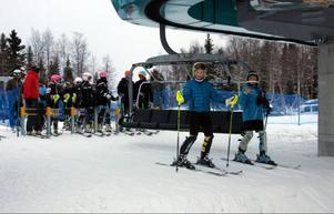Fred Hansson och Ole Ström tyckte att åkningen flöt bra trots att bara en nedfart var öppen.Foto: Stefan Persson