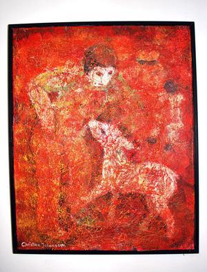 En röd variant. Vernissage i dag för Christina Johanssons mono-kromer på Galleri Luckan.