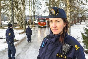 Karin Lindberg från kriminaljouren i Östersund var polisinsatschef och hade med sig två kollegor från krimjouren.