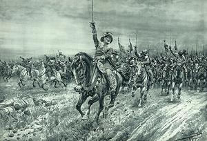 Skolplanch från 1900. Hjältekonungen Gustav II Adolf sormar fram med sitt kavalleri.