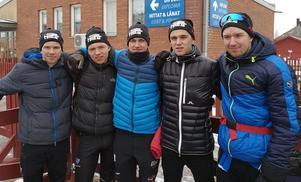 Västgärde Bygg – tvåa i Stafettvasan. Från vänster: Axel Jutterström, Gustaf Berglund, Martin Johansson, Isak Augustsson och Alexander Karlsson.