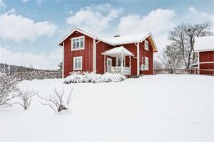 Charmigt rött trähus som passar perfekt för den lilla familjen eller som fritidshus.