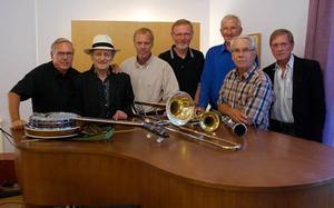 Bay City Seven. Populärt band ursprunget ur forna Bay City Stompers. Bandledaren Göran Schultz är mannen med hatten, tvåa från vänster.