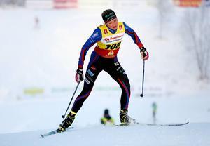 Frida Karlsson, Sollefteå, ledde länge damjuniorloppet över 5 kilometer, men hon fick till slut nöja sig med en fjärdeplats.