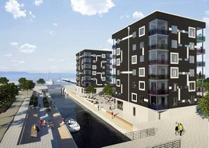 De nya husen. Så här ska Skanskas två sexvåningshus på Gävle strand se ut. De 24 lägenheterna på cirka 100 kvadrat vardera börjar säljas inom kort.  Foto: Skiss: Johan Skoog arkitektkontor