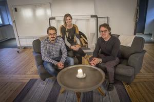 Fredrik Viklund, Ulrika Viklund och deras partner Andreas Eriksson, grundare och ägare av House Be, ett kontorshotell med extra allt.