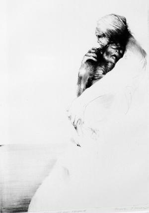 """Mänsklighet. Detalj ur """"Två människor vid en strand"""" av Eigil Thorell."""