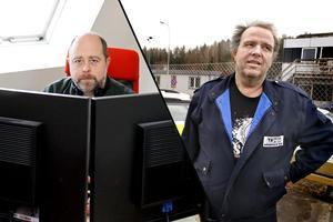Mikael Sundman och John Grantelius, två Norrtäljeföretagare som fått stora fakturor på avgifter de inte visste de skulle betala.
