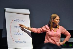 Under sin föreläsning förklarade Petra Krantz Lindgren bland annat hur den så kallade tänka-känna-göra-cirkeln fungerar.