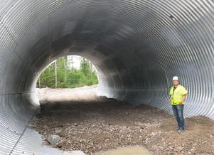 Vilttunneln är en av de största i länet. Vägavstängningen har underlättat arbetet, påpekar Johan Fischer.