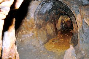 Nere i gruvan i Los letar sig Robert Fors fram även utanför de gruvgångar där guidningarna sker. Härom veckan hittade han en skopa som legat gömd sedan gruvan vattenfylldes 1771.