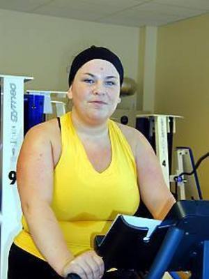 Foto: ULF GRANSTRÖM Nöjd motionär. Linda Wigö är en av medlemmarna i Medic Gym som tränar regelbundet för sitt välbefinnande.