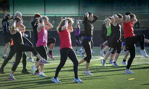 Eftermiddagens löpskolövningar med Maria Akraka var ett av de populärare passen.