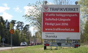 Beläggningsarbete hela sträckan mellan Sollefteå och Långsele