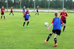 Det är full fart under träningen och det är lätt att förstå varför tjejerna preserat så bra i serien. Här har Ida Nyström bollen.