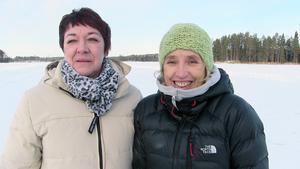 Britt-Marie Stolth, enhetschef på ambulansen och Anita Secher, områdeschef på akutvården fanns på plats för att bevittna halkövningen på Fålatjärnen.