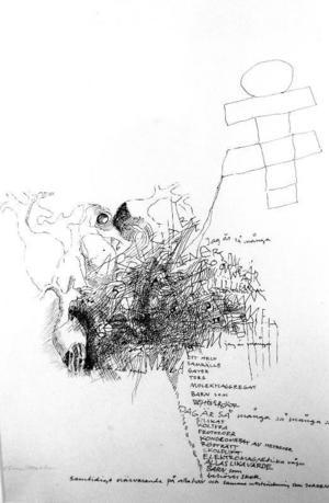 ...som också består av hennes tidigare teckningar med bild och bokstäver blandade.