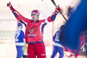Sergej Lomanov efter att ha satt 1–0 i VM-finalen mot Finland.